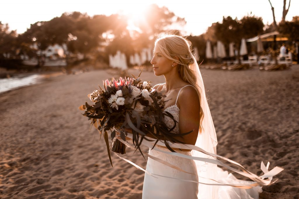 Bride on the beach - Pura Vida Beach Restaurant, a beautiful Ibiza Wedding Venue